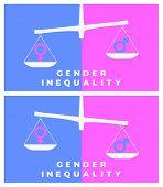 Gender Inequality Vector Illustration In Flat Style. Gender Symbols On Scales poster