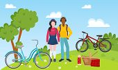 Sport Recreation People Couple Ride Bicycles And Outdoor Picnic Vector Illustration. Mixed Race Spor poster