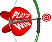 The words Play to Win on a bow and arrow pointing at a target to represent determination, focus and