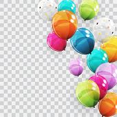 Group Of Colour Glossy Helium Balloons Background. Set Of  Balloons For Birthday, Anniversary, Celeb poster