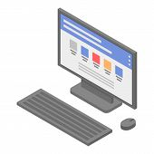 Lab Pc Desktop Icon. Isometric Of Lab Pc Desktop Vector Icon For Web Design Isolated On White Backgr poster