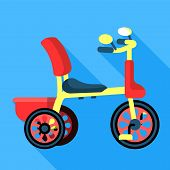Pedal Tricycle Icon. Flat Illustration Of Pedal Tricycle Vector Icon For Web Design poster