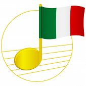 Italy Flag And Musical Note. Music Background. National Flag Of Italy And Music Festival Concept  Il poster