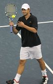 FLUSHING, NY - SEPTEMBER 10: Andy Roddick prepares to serve to Roger Federer during the US Open at t
