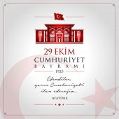 29 Ekim Cumhuriyet Bayrami Vector Illustration. (29 October, Republic Day Turkey Celebration Card.) poster
