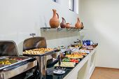 Hotel Breakfast Board In A Family Hotel. Buffet With Different Dishes. poster