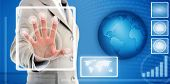 Hand Touching Fingerprint Scanner In Interface