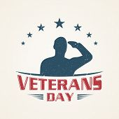 Vintage Emblem Design Veterans Day Concept Background. Illustration Of Veterans Day Vector Concept B poster