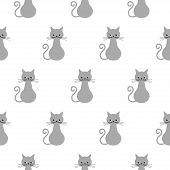 Vector Illustration. Seamless Pattern. Funny Cat Stexturre. Cute Cats In Grey Colors. Vector Cats. S poster
