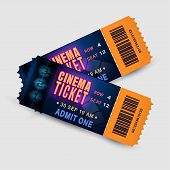 Two Tickets With Film Strip And Number Countdown. Bright Design Template Tickets For Cinema, Festiva poster