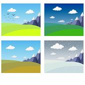 Four Seasons Landscape Collection. Banners With Mountains And Hills In Winter Spring Summer Autumn.  poster