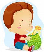 Illustration of a Kid Sipping Pineapple Juice