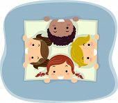 Illustration of Kids Taking a Peek