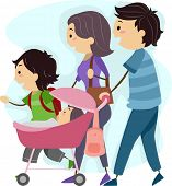 Illustration of a Family Taking a Stroll Together