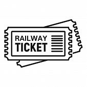 Railway Ticket Icon. Outline Railway Ticket Vector Icon For Web Design Isolated On White Background poster