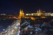 St.nicholas Cathedral And Prague Hradcany Castle In Mala Strana, Prague