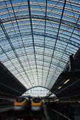 Eurostar Terminal'S Glass Roof In San Pancras Station, London