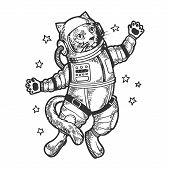 Cat Astronaut Spaceman In Space Sketch Engraving Vector Illustration. Tee Shirt Apparel Print Design poster