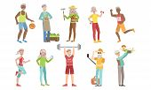 Senior People Different Activities And Hobbies Set, Healthy And Active Lifestyle Of Cheerful Elderly poster