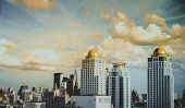 Vintage Tone Of Bangkok Condominium Modern District And Office Business Buildings In Bangkok Downtow poster