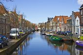 Traditional Dutch Houses On The Canal In Alkmaar Town, Holland, The Netherlands