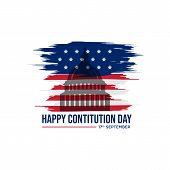 American Constitution Day Badge Vector Logo Icon Isolated On White Background poster