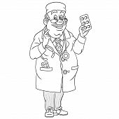 Colouring Page. Cute Cartoon Doctor, Medical Man Offering Pills. Childish Design For Kids Coloring B poster