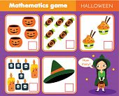 Counting Educational Children Game. Study Math, Numbers, Addition. Halloween Theme Kids Mathematics  poster
