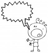 cartoon doodle boy shouting