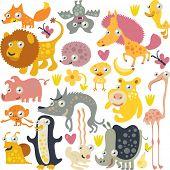 vector animals: fox, bat, horse, duck, hedgehog, lion, chicken, flamingo, rhinoceros, wolf, pig, monkey, penguin, snail and hare