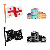 Isolated Object Of Culture And Sightseeing Symbol. Set Of Culture And Originality Vector Icon For St poster
