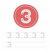Learning To Write A Number - 3. A Practical Sheet From A Set Of Exercises For The Development And Ed poster
