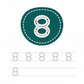 Learning To Write A Number - 8. A Practical Sheet From A Set Of Exercises For The Development And Ed poster