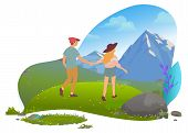 Mountain Tourism, Hiking And Couple In Mountains Traveling Vector. Travelers And Landscape, Romantic poster