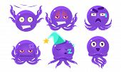 Cute Glossy Octopus Character Set, Funny Sea Creature Emoticon Vector Illustration poster