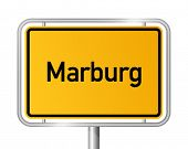City limit sign MARBURG against white background - Hesse, Hessen, Germany