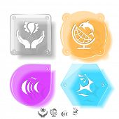 Animal icon set. Deer, fish, bird in hands, globe and shamoo.  Glass buttons. Raster illustration.