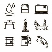 Vector Oil And Petrol Industry Objects Icons Set Black Thin Line.contains Such Icons As Fuel Truck,  poster
