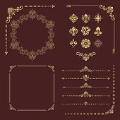 Vintage Set Of Vector Horizontal, Square And Round Elements. Golden Elements For Backgrounds, Frames poster