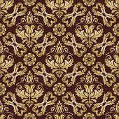 Orient Vector Classic Brown And Golden Pattern. Seamless Abstract Background With Vintage Elements.  poster