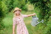 Optimize Water Use. Watering Tools. Girl Child Hold Watering Can. Improve Irrigation Timing. Measure poster
