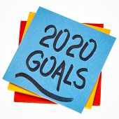 2020 goals reminder  - handwriting on an isolated sticky note, New Year resolutions and goal setting poster