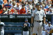 NEW YORK - MAY 20: Johnny Damon #18 of the New York Yankees grimaces at a call as he plays against t