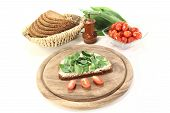 Fresh Bread With Ramson And Tomatoes