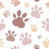 Paws Pattern. Silhouettes Of Paws, Cats Feet, Dogs Footprint. Pastel Pink, Nude On A Transparent Bac poster