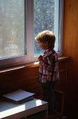 Little Boy Looks In Window With Curiosity. Sunlight Comes Into Room Through Windows. Big White Plast poster