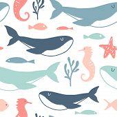 Sea Animals Seamless Pattern. Vector Cartoon Underwater Creatures Texture: Starfish, Sea Horse, Shel poster