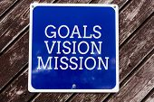 Handwriting Text Writing Goals Vision Mission. Concept Meaning Practical Planning Process Used To He poster