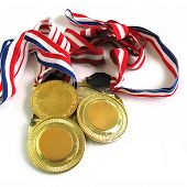 stock photo of gold medal  - 3 gold medals - JPG