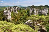view from cesky raj - czech or bohemian paradise - bohemia - czech republic
